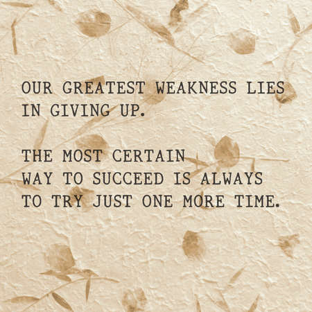 Motivational quote in handmade paper by Thomas A. Edison