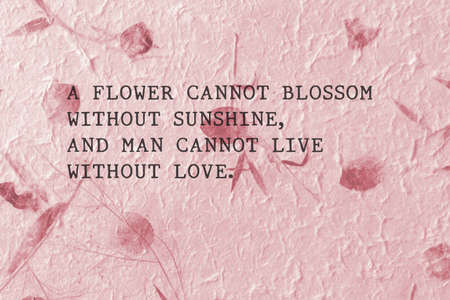 Love quotes by Max Muller  on hand made paper Stock Photo