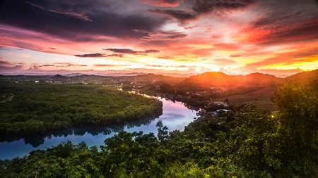 Sunset bird eye view Pranburi Hua Hin Thailand