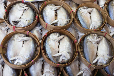 Mackerel fish in bamboo basket at market, Thailand Stock Photo - 23451165