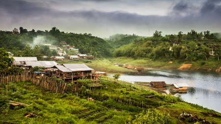 Landscape of Mons rural life among nature at Sangkhla buri, Thailand. photo