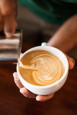 Cappuccino with latte art Standard-Bild