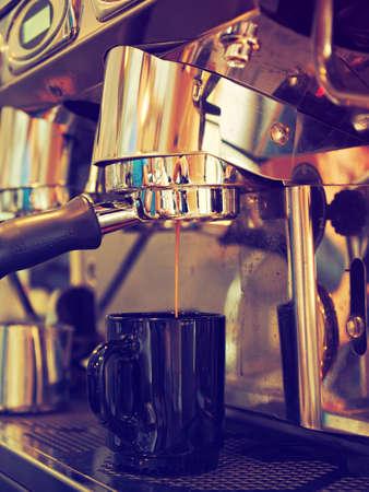 coffee machine in coffee shop vintage color