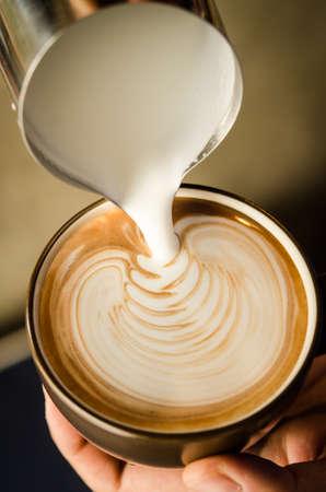 coffee latte art with milk Stock Photo