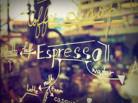 tekst koffie menu op de spiegel coffeeshop Redactioneel
