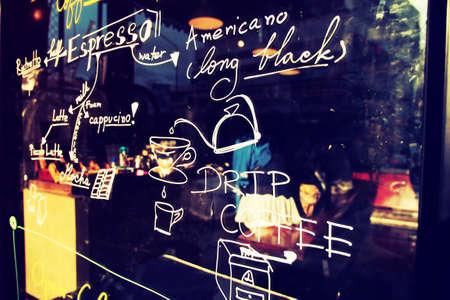 text coffee menu on the mirror coffee shop