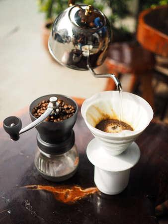 Kit for making drip coffee in vintage color tone 版權商用圖片