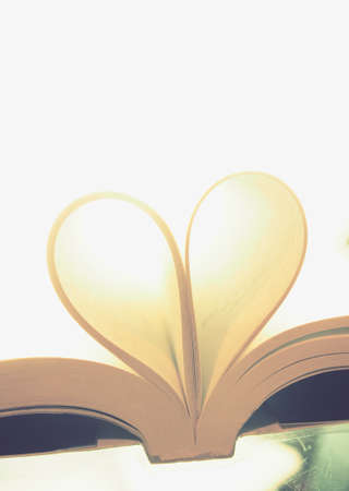 Book page in heart shape concept love , valentine day Stock Photo