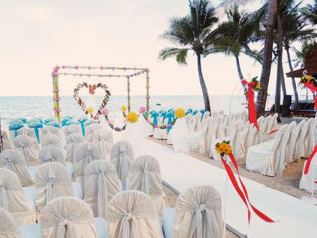 Wedding ceremony on the beach vintage color tone