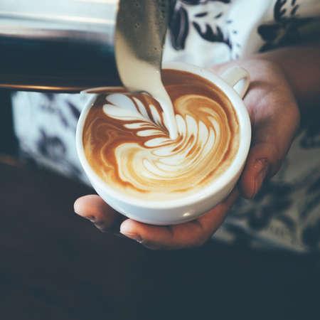 latte art coffee vintage color tone