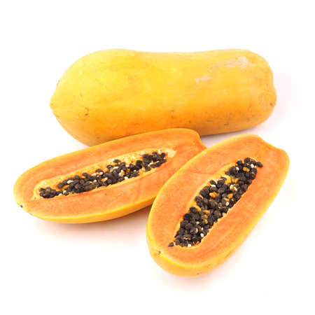 grope: Papaya in white background