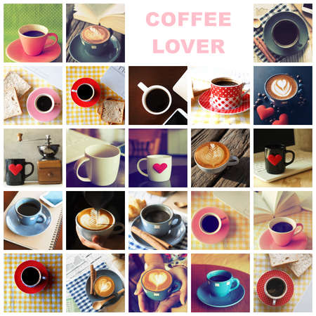 vintages: Cup of Coffee in coffee shop vintage color tone style Stock Photo