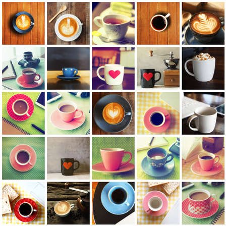 vintages: Cup of Coffee in coffee shop vintage color tone style set college Stock Photo