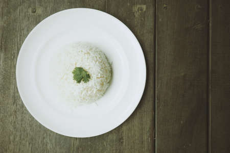 food on white: Thai food : white rice on the dish