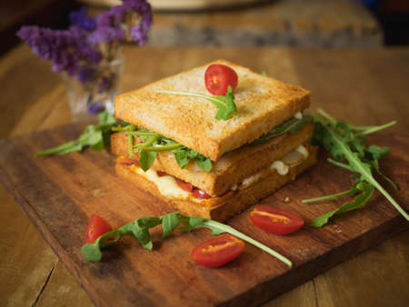 Homemade Sandwich with salmon, Tomato, and Onion