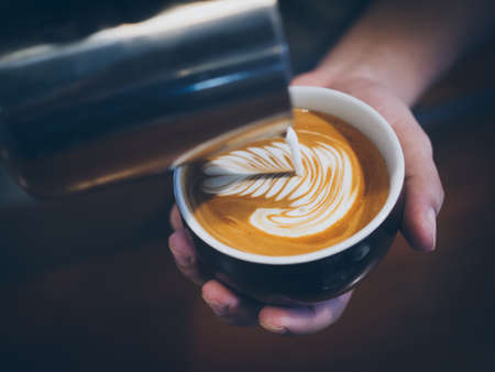 gourmet: how to make coffee latte art Stock Photo