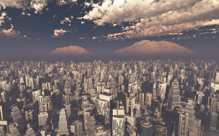 towerblock: aerial view a future city 3d rendering Stock Photo