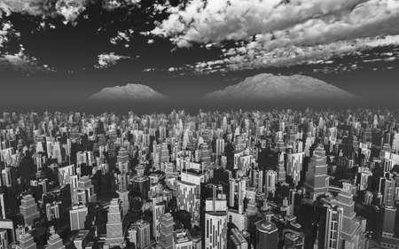 city view: aerial view a future city 3d rendering Stock Photo