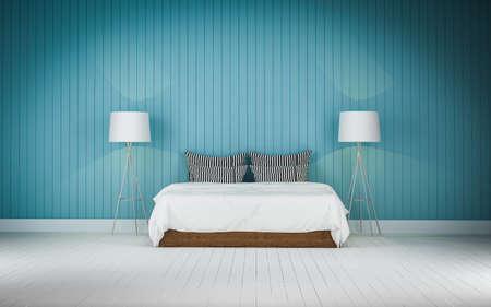 bedroom wall: Loft style bedroom blue wall  3d rendering