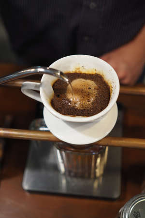 caffeine: Drip Brew Coffee Caffeine Filter Stock Photo