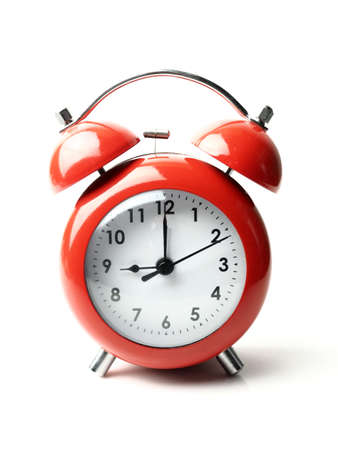 vintage retro red alarm clock 9 oclock isolate white background