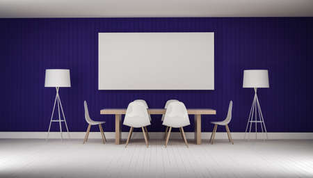APARTMENT LIVING: working meeting room with white photo frame wood floor 3d rendering