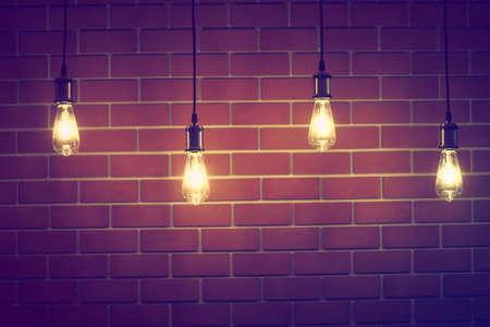 vintage lamp in coffee shop vintage color tone