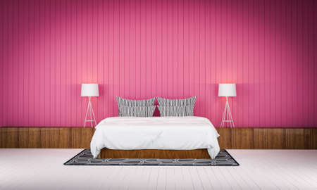 bedroom wall: Loft style bedroom pink color wall  3d rendering