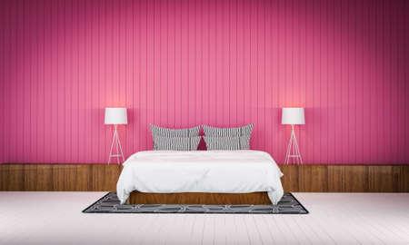 bedroom wall: Loft style bedroom pink color wall  3d rendering