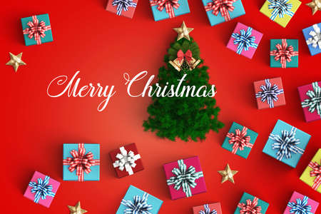 Merry Christmas and gift box on color background 版權商用圖片
