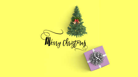 Merry christmas and gift boxes on  color background