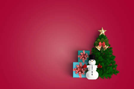 merry christmas and chirstmas tree on color background