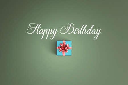 Happy birthday and gift box on color background 版權商用圖片