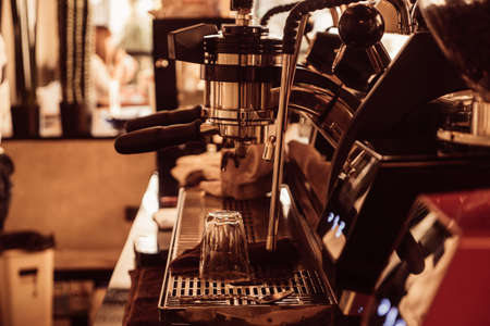close up coffee machine in coffee shop. 版權商用圖片