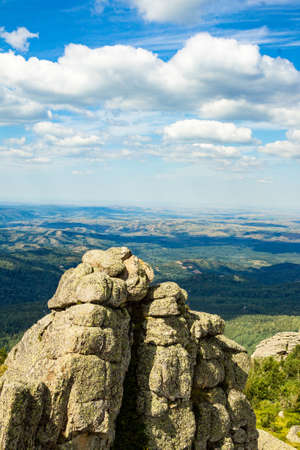 Unusual rocks in the mountains. Nature of mountain Sinyukha, the highest mountain Kolyvan ridge. Altai Krai, Russia.