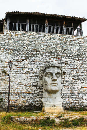 Statue of emperor Constantine in the fortress of Berat city, Albania Stock Photo