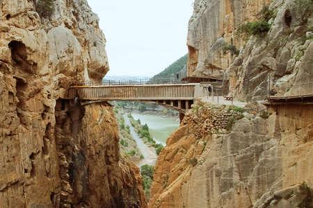 Caminito del Rey hiking trail through a deep narrow gorge. Malaga Spain