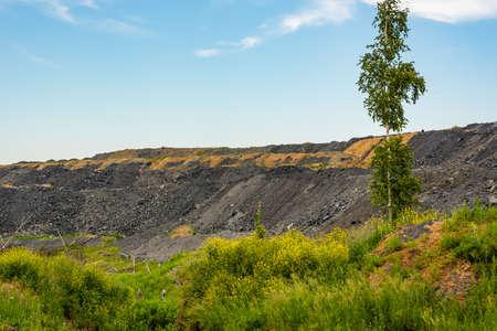 Dumps of waste rock in coal mining.
