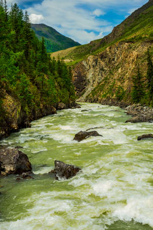 The Mazhoy cascade on the Chuya River - the venue for rafting competitions. Siberia, Altai