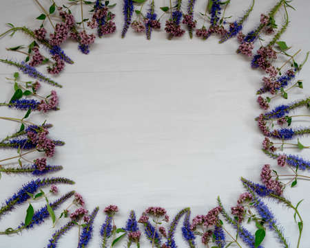 Frame made of blue and lilac wildflowers on gray wooden surface Reklamní fotografie