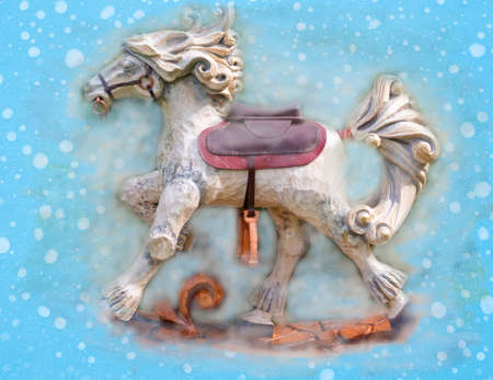 An old wooden toy horse, christmas decoration Banque d'images