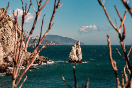 Rocks on the Black Sea on a sunny day, Crimea