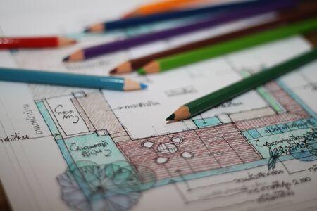 color pencils: landscape layout design sketch with color pencils