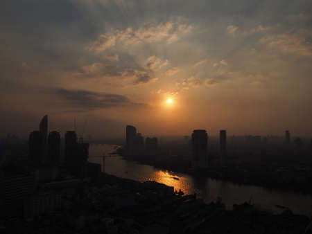Chao Phraya river sunset view