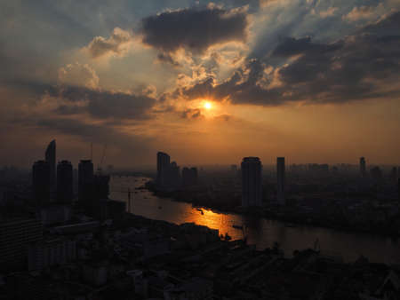 Chao Phraya river sunset view