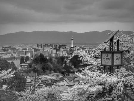 日本: view from Kiyomizu Dera temple in Japan and Kyoto tower and Clock tower(Black and White)