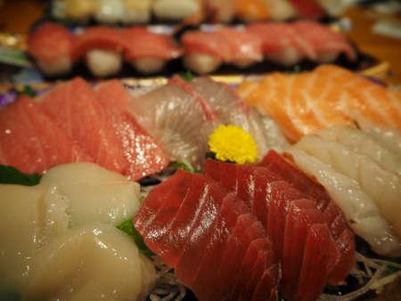 Sashimi Set in Japan (Hotate,Otoro,Salmon)