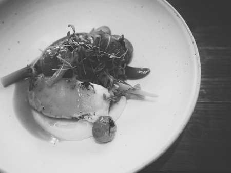 Sablefish Saute with Asparagus and sauce (Balck and White)