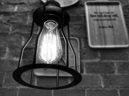 LED Yellow Lamp (Black and White) Stock Photo
