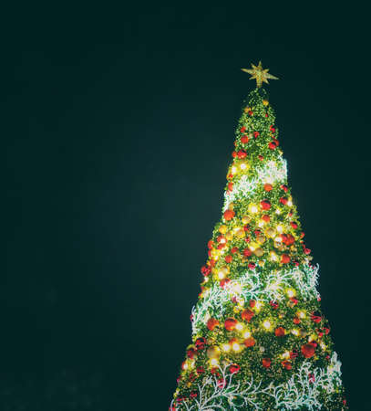 big christmas tree lighting at night in christmas festival with black background can use for